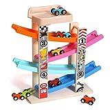 Dirgee Holzblock Autospur Spielzeug Rampe Rennen Auto Rennstrecke Auto Rampe Set Junge Kleinkind Kind Auto Spur Spielzeug mit Parkgarage (Farbe: Mehrfarbig, Größe: Freie Größe)
