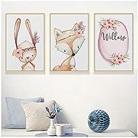 絵画 北欧のモダンなミニマリストの花かわいいキツネ白ウサギ漫画動物キャンバス絵画アートプリントポスター写真鍬の壁の装飾23.6x31.5in(60x80cm)x3pcsフレームなし