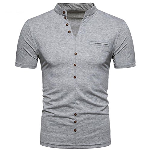 NEARTIME Men Tee, Summer Casual Solid Color V-Neck Pullover Short Sleeve T-Shirt Top Slim Bussiness Blouse (XXL, Gray)