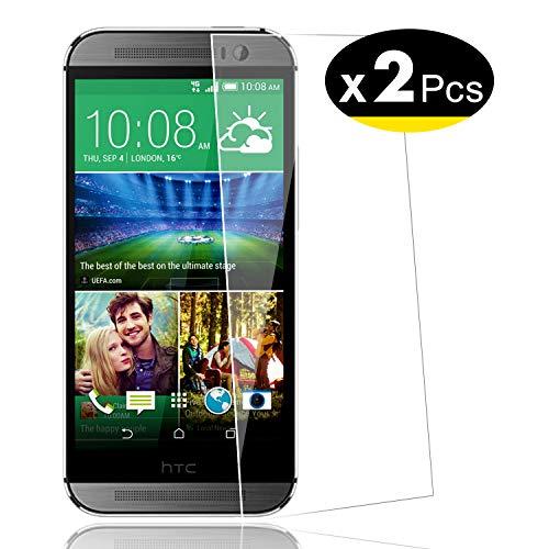 NEW'C PanzerglasFolie Schutzfolie für HTC One M8, M8s, [2 Stück] Frei von Kratzern Fingabdrücken und Öl, 9H Härte, HD Displayschutzfolie, 0.33mm Ultra-klar, Displayschutzfolie