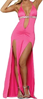 DongDong Fashion Women Sexy Deep V-Neck Sexy Lingerie Long Skirt Nightwear with G-String