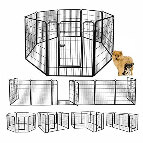 ウェリナ ペットフェンス 猫犬 中大型犬用 ペットケージ パネル8枚 折り畳み式 ペットサークル カタチ変更可能 組立簡単 室内外兼用 スチール製 (100cm*80cm)