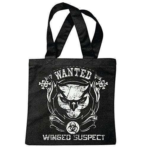Tasche Umhängetasche WANTED WINGED SUSPECT OWL LIFESTYLE FASHION STREET WEAR HIPHOP LEGENDARY SALSA Einkaufstasche Schulbeutel Turnbeutel in Schwarz