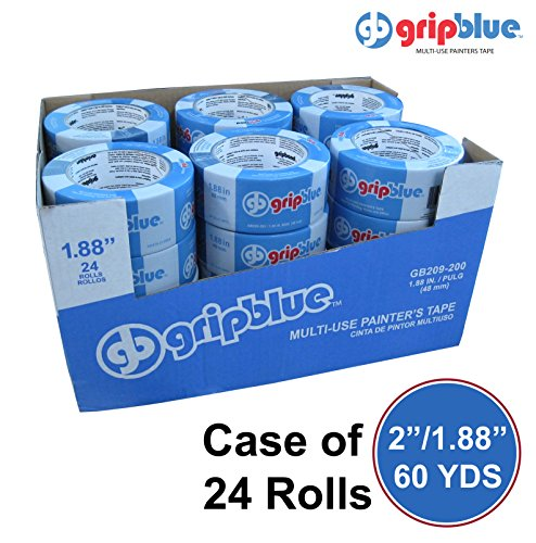 "GripBlue 2 Inch Multi-Use Blue Painters Tape | Multi-Use Safe-Release Premium Crepe Paper Masking Tape for Multi-Surfaces | 1.88""/48mm X 60 YDs Case of 24 Rolls"