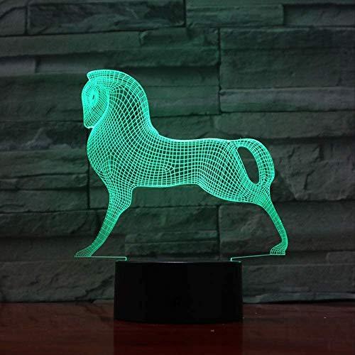 Veilleuse Enfants 3D Illusion Mignon Coloré Poney Cheval Jouets Petit Poney 3D Illusion 3D Illusion Touch Acrylique Veilleuse Bébé Enfants Dormir Lampe 3D