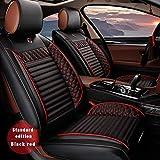 Actualizado 5 Plazas Cuero Universal Fundas para Asiento de Coche Juego Completo para Ford Toda la Temporada Protección 3D Accesorios para Interiores de Automóviles Negro-Rojo