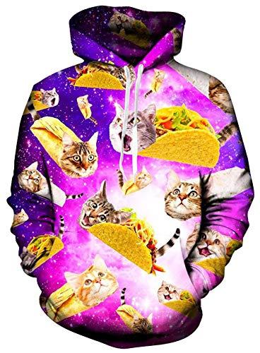 Loveternal Pizza Pullover 3D Druck Hoodie Katze Kapuzenpullover Langarm Casual Sweatshirt für Frauen Männer M