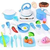 Sotodik 29 Stück Kinderküche Kochgeschirr Küchenspielzeug Zubehör mit Kochgeschirr Töpfe und Pfannen Set,Küche Pretend Spielzeug mit Induktionsherd und Lebensmittel für Kinder Mädchen und Jungen