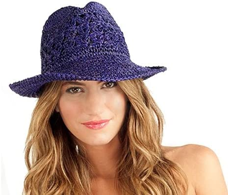 Profile by Gottex Womens Andros Crochet Purple Fedora Hat