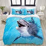 Funda nórdica, azul bajo el agua de la piscina de delfines Agua de nariz de botella linda Sonrisa de mar, juego de ropa de cama Juegos de funda de edredón de poliéster de poliéster ultra cómodo y livi