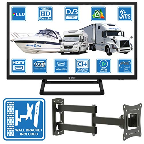 Motorhome Caravan Boat 12 Volt 24 Inch LED Digital HDR TV DVB-T2 /C/S2 Freeview Freesat Cable TV....