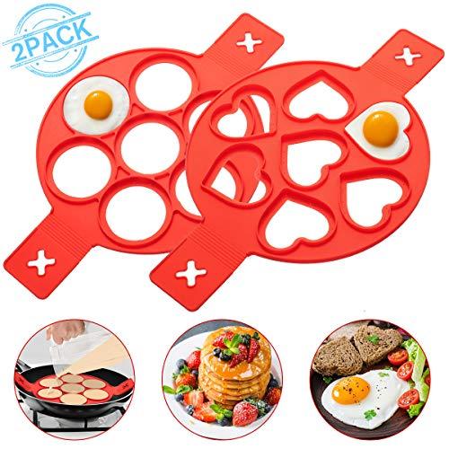 LIUMY 2 PCS Silikon Pfannkuchenformen mit 7 Löchern, (Herz & Runde Form), Ungiftige und geschmacklose Omelett Eierring für schnelles einfaches DIY Backform Ei/Spiegelei/Pfannkuchen (Rot)
