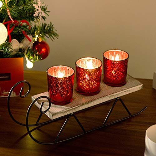 Diamond Star Christmas Candle Holders Mercury Glass Tealight Candle Holder Decorative Sled Votive Candlestick for Home (Red)