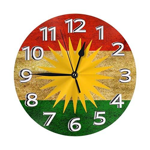 Kasonj Kurdistan Kurd Kurds Kurdische Flagge Poster Uhr Nummer Modern Mute DIY rahmenlose große Wanduhr Ideal für jeden Raum zu Hause Esszimmer Küche Büro Schule