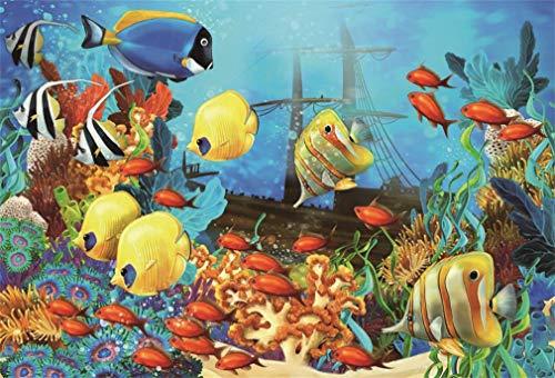 YongFoto 3x2m Fondo de Fotografia Submarino Mundo Acuario Peces Coral Burbuja Barco Azul Agua Interior Papel Pintado Dibujos Animados Telón de Fondo Fiesta Boda Retrato Estudio Fotográfico Accesorios