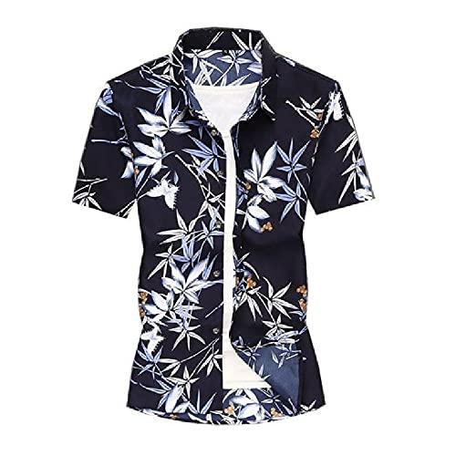 Hawaiana Camisa Hombre Verano Vintage Estampado Hombre Manga Corta Shirt Cuello Kent Henley Camisa Botón Placket Casuales Camisa Moda Ligera Vacaciones Hombre Playa Shirt B-Black XS
