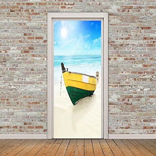 NXCNTD Calcomanías de las puertas en 3D Barco junto al mar azul marino 80x210cm Vinilo Impermeable Extraíble Murales de Papel Decorativos Para el Hogar Baño Sala de estar Dormitorio Decoración