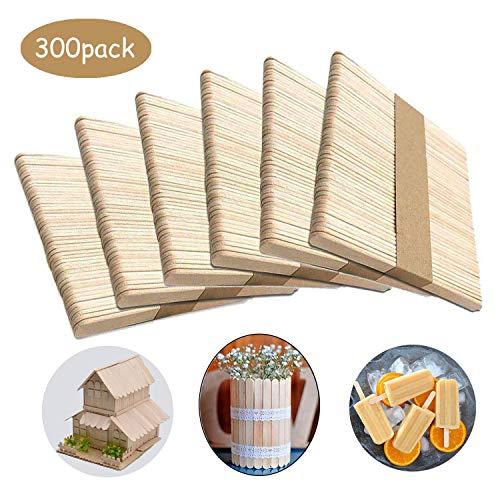LIZHIGE 300 Stück Holzstäbchen Holzstäbchen Bastelhölzer Holz für Kreative Designs,Spielen, Kindergarten,für DIY Basteln, Verzieren