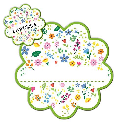 Logbuch-Verlag - Targhetta per porta con motivo a fiori colorati - targhetta per WC per la cameretta dei bambini, autoadesiva, scrivibile, personalizzabile