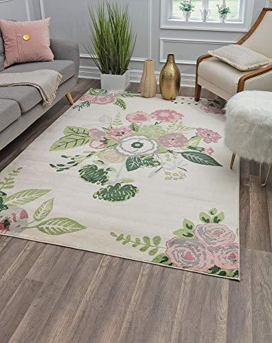 Rugs America Alfombra de área de Polipropileno, Color Crema de jardín de Rosas, 2 pies x 4 pies