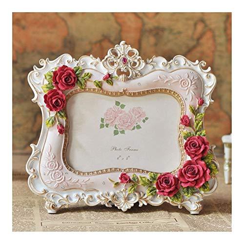 OYPY 6inch 7inch Bilderrahmen europäischen Stil Harz Rose Blumen-Foto-Rahmen-Oval-Rechteck-Rahmen for die Hochzeit Geschenke Home Decor (Color : Blue)