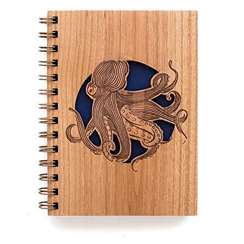 Octopus Wooden Journal Notebook