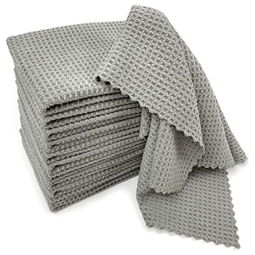 SHSCLY Waffle Weave Towel Microfiber Cleaning Cloth for Kitchen Household Car Glass Dish Drying Towels LintFree Water Absorption Decontamination Soft Gray 12 Pack 122quot x 122quot