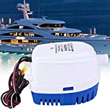 Boat Ship Automatic Submersible Bilge Water Pump, Effective 12V 760Gph Auto Boat Bilge Pump with 100cm 29mm Outlet Cable and Built-in Floating Switch, Water Pump with Anti-Dry Burning Protection