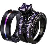 ringheart Luxury Couple Rings Black Gold Filled Princess Cut Purple Cz Womens Wedding Ring Sets Man Tungsten Wedding Band