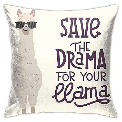 Save The Drama - Fundas de almohada decorativas de 45,7 x 45,7 cm, diseño de alpaca de dibujos animados para coche, sofá, decoración del hogar