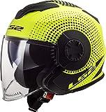 Casco moto LS2 OF570 VERSO SPIN MATT HI VIS Giallo, Nero/Giallo, S