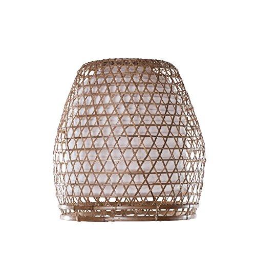 Lampenschirm Bambus Basket S, Bambuslampen aus Bali, handgemachte Lampenschirme aus Bambus, als Hängelampe für Innenbeleuchtung, Raumbeleuchtung, exotische Zimmerlampe, Lampenschirm Asien