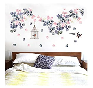 Flor pegatinas de pared decoración de la cama jaula de pájaros decoración del hogar PVC DIY tatuajes de pared dormitorio TV sofá decoración 139 * 71 cm