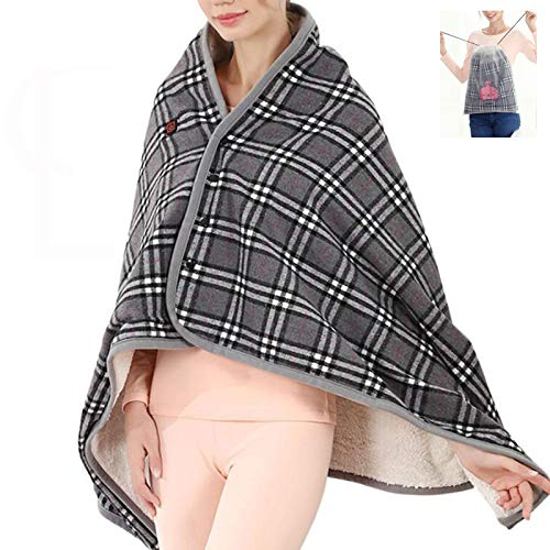 Heated Shawl USB Cordless Wrap Blanket for Women, Electric with Auto Shutoff Ultra Soft Throw Flannel Warm Cape, for Car Office Chair-Machine Washable 170x70cm