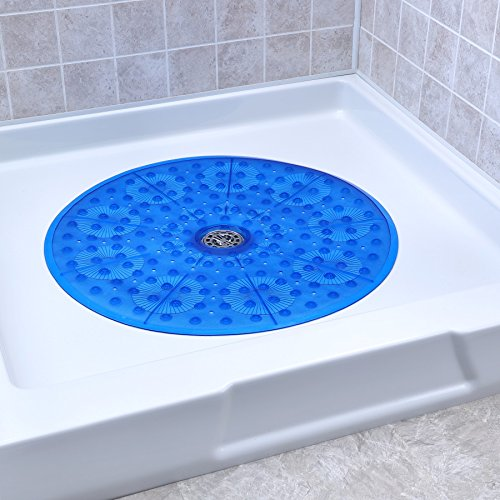 SlipX Solutions Blue Round Shower Stall Mat Provides Generous Coverage & Reliable Slip-Resistance (23 Inch Diameter, 160 Suction Cups, Great Drainage)