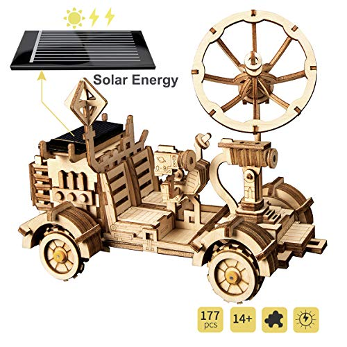 ROBOTIME Solar Powered Robot Car Kit for Kids Age 14+ - Laser Cutting Mechanical Wooden Puzzle Vehicle Model