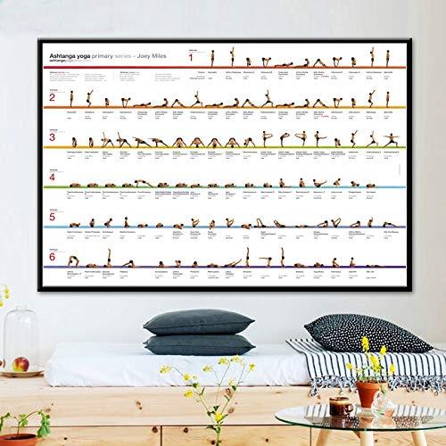 Hllhpc (zonder frame) hometrainer fitnessstudio yoga astanga grafiek opstelling gezondheid poster kunstdruk canvas schilderij wandschilderijen voor woonkamer decoratie