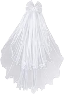 Lystaii Girls Bowknot Rhinestone Veil Flower Headband Flowers Crown Flowers Crown Flower Veil Girls Veil اولین ارتباط اول مقدسین حجاب حجاب حجاب حجاب با شانه سفید برای مهمانی عروسی