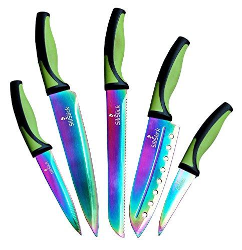 Küchen Messer Set | 5 Elegante Messer, Küchenchef Qualität, Premium SS Klingen mit ergonomischen Griffen, Rainbow Effekte mit Titan Beschichtung, Ummantelung, Perfekt für Zuhause & Pro (Grün-Schwarz)