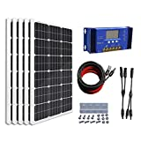 ECO-WORTHY 500 Watts Complete Solar Kit Off-Grid: 5pcs 100W Mono Solar Panel Module + 60A Charge Controller + 32 Feet Solar Cable Adapter + Y Branch MC4 Connectors + Z Brackets Mount