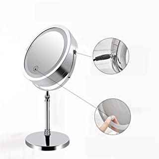 YASE-king Tabletop Mirrors, Handheld Mirrors,LED Lighted Makeup Mirror,Vanity Mirror with Touch Switch,5X Magnification Sp...
