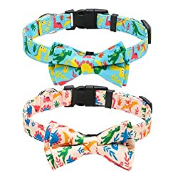 4. KOOLTAIL Store Adjustable Dog Dinosaur Collar with Bow Tie (2 Pack)