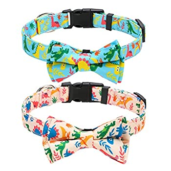 KOOLTAIL Store Adjustable Dog Dinosaur Collar with Bow Tie (2 Pack)