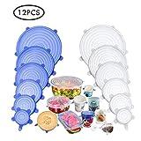 Tapas de sellado elástico reutilizables de 12 piezas, JOQINEER cubiertas de almacenamiento de alimentos sin BPA que se adaptan a diferentes formas de recipientes, platos