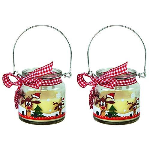 2er Set Duftkerzen im Glas mit süßem Rentiermotiv Raumduft