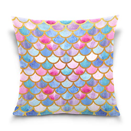 CaTaKu Mermaid Ocean - Funda de almohada de algodón de 40 x 40 cm, doble cara, diseño de sirena marina marina, funda de almohada decorativa para el hogar, hotel, sofá Ded