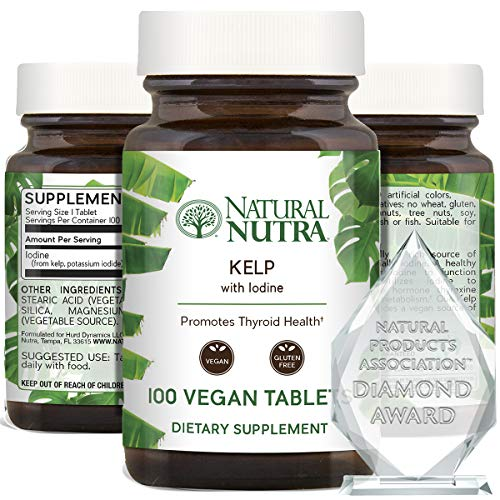 Natural Nutra Kelp Iodine Supplement, Thyroid Support, Vegan Sea Kelp, North Atlantic Sourced Seaweed Extract, 225 mcg, 100 Tablets