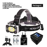 IRセンサーLEDヘッドランプXPG + COBスーパーブライトフィッシングヘッドライト4照明モード防水キャンプ18650バッテリー 釣りアドベンチャーなど (Emitting Color : Package E)