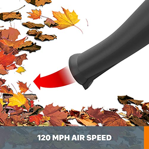 WORX WG545.1 AIR 20V PowerShare Lightweight Cordless Battery-Powered Leaf Blower/Sweeper with Accessory Attachments and Bag