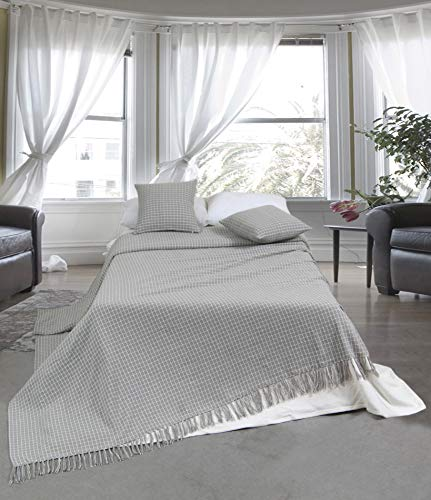 EHC Luxury Reversible Super Soft Divine Check Cotton Throws for Settees Sofa Bed, Grey 250 X 380cm - Super King Size